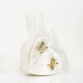 Wedding Bomboniere - Ivory Heart-Shaped Box with Μonograms