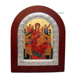 Ασημένια εικόνα Υπεραγία Θεοτόκος Παντάνασσα αγιογραφία