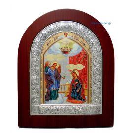 Ασημένια εικόνα Ευαγγελισμός Θεοτόκου αγιογραφία