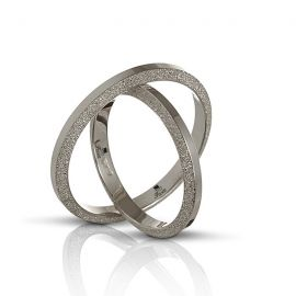 Side Wire Brushed White Gold Wedding Ring