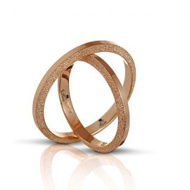 Side Wire Brushed Rose Gold Wedding Ring