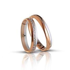 Βέρα Γάμου Σειρέ από Λευκό και Ροζ Χρυσό ( Μεμονωμένο τεμάχιο)