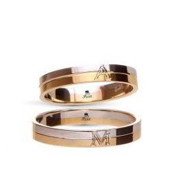 Two-Tone Wedding Ring with engraved First Letter