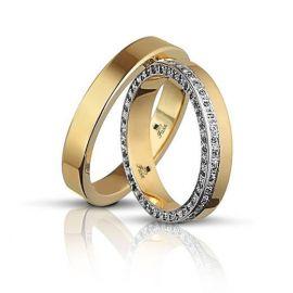 Χρυσή Βέρα Γάμου Πλακέ με Πέτρες στα Πλάγια ( Μεμονωμένο Τεμάχιο)