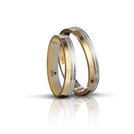 Δίχρωμη Βέρα Γάμου Πλακέ