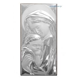 Madonna & Child Silver Icon in rectangular shape