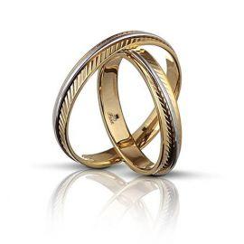 Βέρα Γάμου Σκαλιστή με Λευκόχρυση Λεπτομέρεια (Μεμονωμένο Τεμάχιο)
