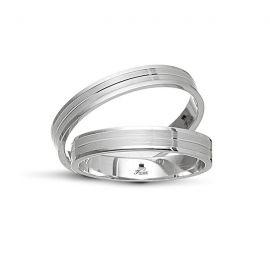 Λευκόχρυση Βέρα Γάμου Ματ με Λουστρέ Άκρες ( Μεμονωμένο Τεμάχιο)