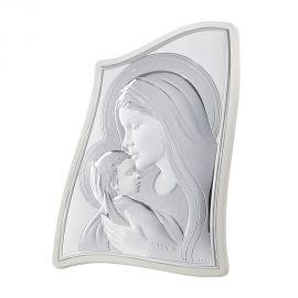 Ασημένια Εικόνα της Παναγίας σε Πρωτότυπο Σχήμα (Λευκή Πλάτη)