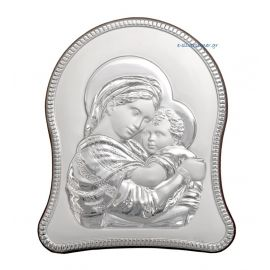 Madonna & Child Silver Icon in oval shape