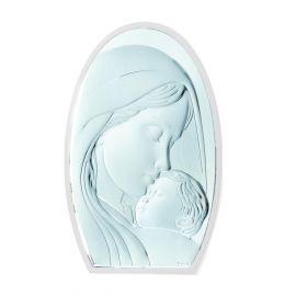 Ασημένια Εικόνα της Παναγίας σε Οβάλ Σχήμα (Λευκή Πλάτη)