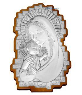 Madonna & Child Silver Icon in wavy shape