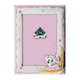 Little Mouse Silver Picture Frame in Pink