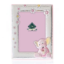 Little Elephant Silver Picture Frame in Pink