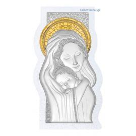 Ασημένια Εικόνα της Παναγίας με Swarovski (Χρυσή Διακόσμηση)