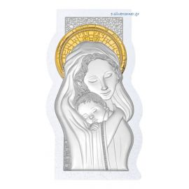 Madonna & Child Silver Icon with Swarovski stones