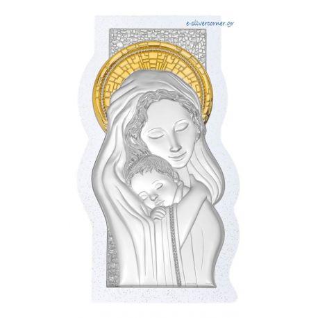 Ασημένια Εικόνα της Παναγίας με πέτρες (Χρυσή Διακόσμηση)