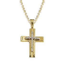 Χρυσός Σταυρός Βάπτισης με Πέτρες