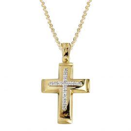 Χρυσός Σταυρός Βάπτισης Γυναικείος με Πέτρες