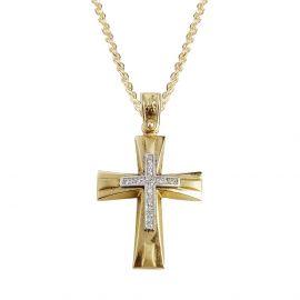 Σταυρός Βάπτισης Γυναικείος Χρυσός με Πέτρες