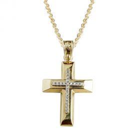 Γυναικείος Σταυρός Βάπτισης με Πέτρες Χρυσός