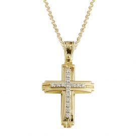 Γυναικείος Χρυσός Σταυρός Βάπτισης με Πέτρες Ματ - Λουστρέ
