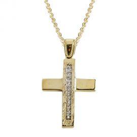 Μίνιμαλ Γυναικείος Χρυσός Σταυρός Βάπτισης με Πέτρες