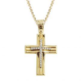 Γυναικείος Χρυσός Σταυρός με Πέτρες
