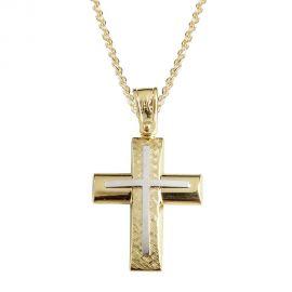 Ανδρικός Δίχρωμος Σταυρός Βάπτισης Σφυρήλατος