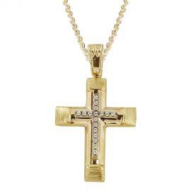 Γυναικείος Χρυσός Σταυρός Βάπτισης με Πέτρες Ματ - Σαγρέ
