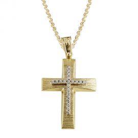 Χρυσός Σταυρός Βάπτισης Σαγρέ Χειροποίητος