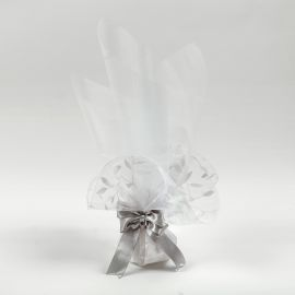 Wedding Tulle Bomboniere with Satin Ribbon with Lace-Organza