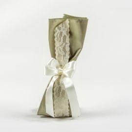 Μπομπονιέρα Γάμου Σατέν Λαδί