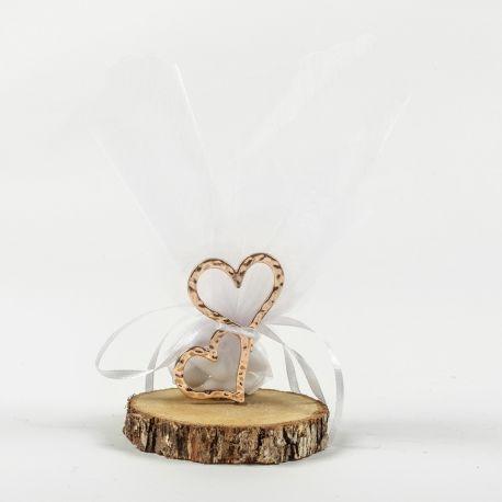 Μπομπονιέρα Γάμου σε Κορμό '' HEARTS ROSE GOLD''