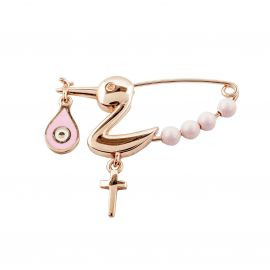 Rose Gold-Plated Sterling Silver Stork Baby Pin