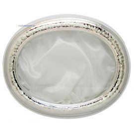 Ασημένια Στεφανοθήκη Σφυρίλατη Οβάλ Λευκή