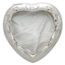 Ασημένια Στεφανοθήκη Βέρες Καρδιά Λευκή