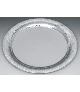 Silver plated wedding tray - Modern style hammered design