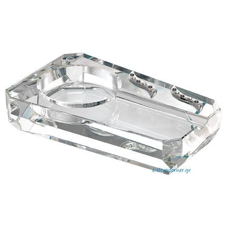 Crystal Cigar Ashtray with Silver Embellishments and Swarovski Rocks