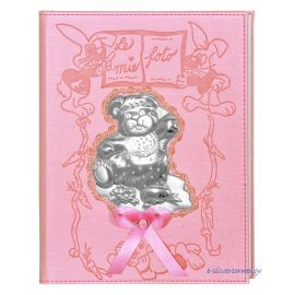 Pink Leather Photo Album with Silver Bear