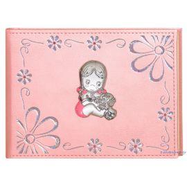 """Παιδικό Άλμπουμ Δερμάτινο Ροζ """"Μαργαρίτες - Κοριτσάκι"""""""