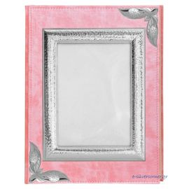 Pink Leather Photo Album with Picture Frame - Large