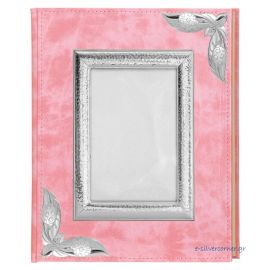 Pink Leather Photo Album with Picture Frame