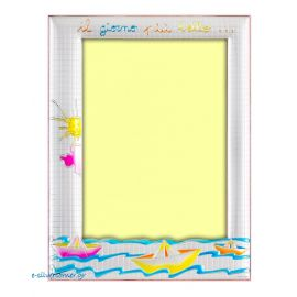 Boats Silver Picture Frame in Pink