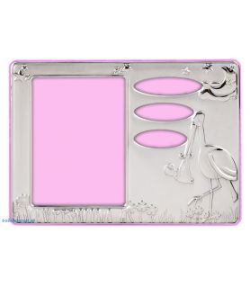 Stork Silver Picture Frame in Pink