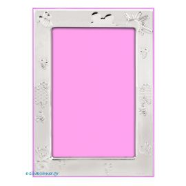 Bees Silver Picture Frame in Pink
