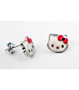 """Σκουλαρήκια Ασημένια """"Hello Kitty"""""""