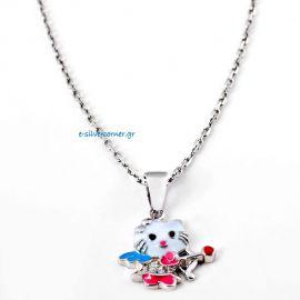 """Ασημένιο Μοτίφ με Αλυσίδα """"Hello Kitty"""""""