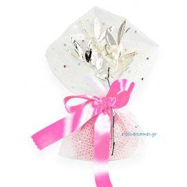 Μπομπονιέρα Πουγκί με Κλαδί Σχίνου Ροζ