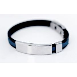 Caoutchouc Bracelet with Large Steel Plate